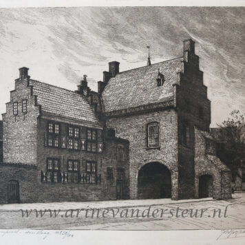 [Modern print, etching] De Gevangenpoort in The Hague, published ca. 1950.