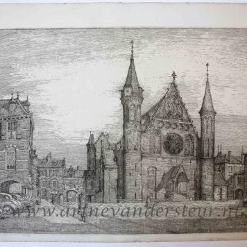[Modern print, etching] De Ridderzaal in The Hague/Binnenhof Den Haag, published ca. 1960.