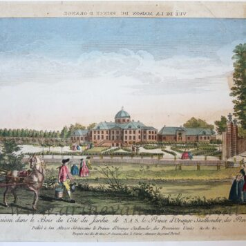 [Antique print, handcolored etching] VUE DE LA MAISON DU PRINCE D'ORANGE/Paleis Huis ten Bosch, published ca. 1750.