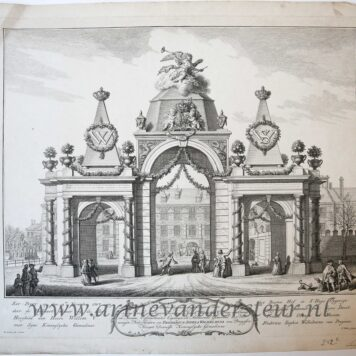 [Antique print, etching and engraving] Triumphal arch built for the marriage of Willem V and Fredrica Sophia Wilhelmina of Prussia in 1767. Buitenhof Den Haag. Published 1767.