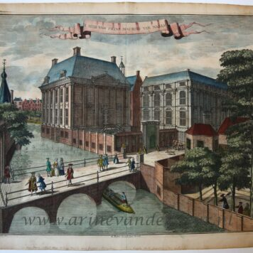 [Antique print, handcolored etching] 't HUIS VAN PRINS MAURITS VAN NASSAU, published ca. 1735.