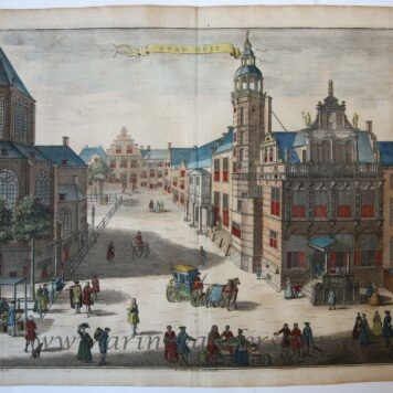 Hand colored view of the Town Hall in The Hague (het oude Stadhuis in Den Haag). On the left a small portion of the Grote Kerk. Carriages and people roaming the streets.