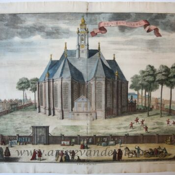 [Antique print, handcolored etching] DE NIEUWE KERK, published ca. 1735.