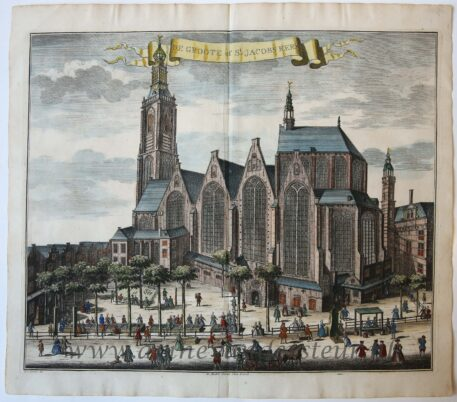 [Antique print, handcolored etching] DE GROOTE of St JACOBS KERK, published ca. 1735.