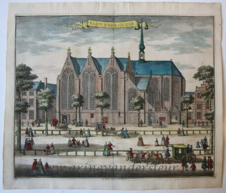 [Antique print, handcolored etching] KLOOSTER-KERK, published ca. 1735.
