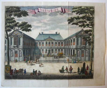 [Antique print, handcolored etching] HET OUDE HOF, published ca. 1735.