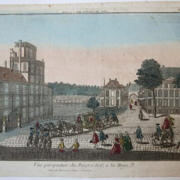 [Handcolored Opticaprent/Optical view The Hague/Den Haag] Vue perspective du Buyten Hof, a la Haye (Buitenhof Den Haag), published ca. 1770.
