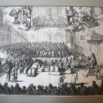 [Antique print, etching] HET HOOG-EN LAGER-HUYS VAN ENGELANDT (House of Lords and House of Commons England), published 1727.