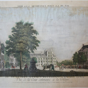 [Handcolored Opticaprent/Optical view The Hague/Den Haag] Vuë de la Cour exterieure à la Haye (Buitenhof Den Haag), published ca. 1760.