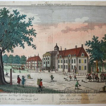 [Handcolored Opticaprent/Optical view The Hague/Den Haag] Gesigt, van het Huis de Oranje Zaal (Huis Ten Bosch), published ca. 1770.