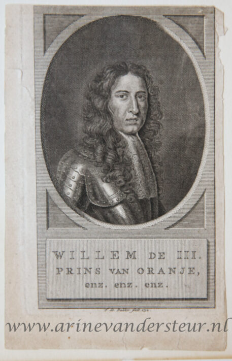 [Antique print; engraving] WILLEM DE III. PRINS VAN ORANJE, enz. enz. enz (Willem de derde), published 1752.