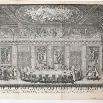 [Antique print; etching and engraving] AFBEELDING van de TREVES-KAMER (trêveszaal). Published 1738.