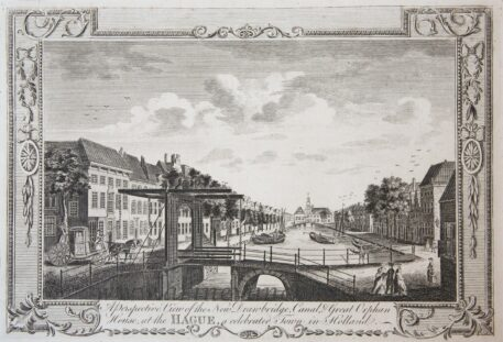 [Antique print, etching] A Perspective View of the New Drawbridge Canal and Great Orphan House at The HAGUE a celebrated Town in Holland (Bierkade Den Haag), published ca. 1780.