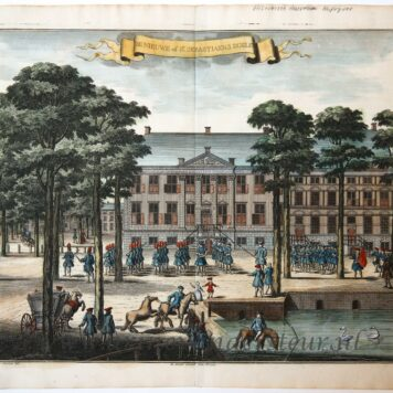 [Antique print, handcolored etching] DE NIEUWE of St. SEBASTIAENS DOELEN, published ca. 1735.