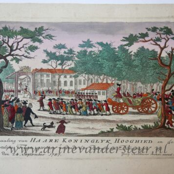 [Antique print, handcolored etching] Inhaaling van HAARE KONINGKLYK HOOGHEID..., published ca. 1787-1790.