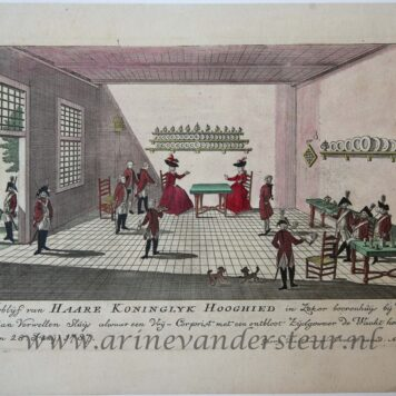[Antique print, handcolored etching] Verblyf van HAARE KONINGKLYK HOOGHEID..., published ca. 1787-1790.