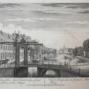 [Antique print, etching] A Perspective View of the New Drawbridge Canal and Great Orphan House at The Hague (Bierkade Den Haag), published ca. 1770.