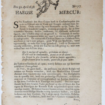 [Newspaper/Krant 1698] Haegse Mercur/Haagse Mercur, 30 April 1698, no 77, 4 pp.