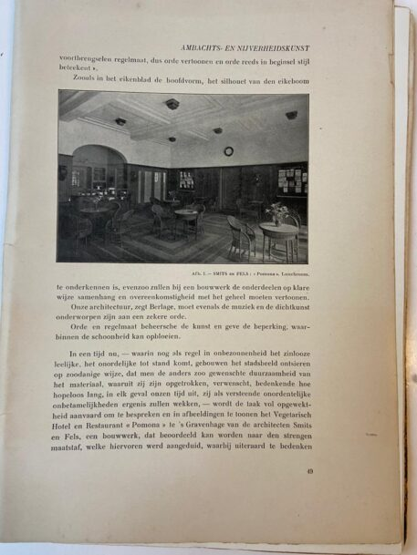 [Extract 1913, Hotel Pomona The Hague] Het hotel en restaurant Pomona te 's-Gravenhage, Extract Onze Kunst 1913, pp 48-59, Illustrated.