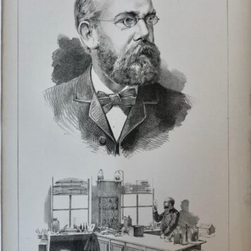 [Original lithograph/lithografie by Johan Braakensiek] Prof. Robert Koch, 23 November 1890, 1 pp.