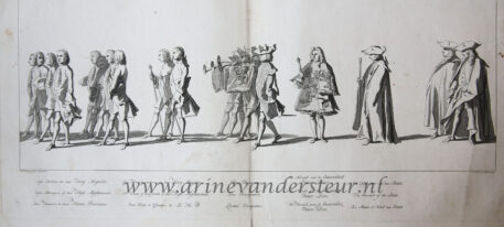 [Antique print, etching, Delft] Plate from the funerary procession of Willem Carel Hendrik Friso, on February the 4th 1752, published 1755.