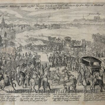[Antique print; engraving, Rijswijk] Maurits welcomes Spinola in Rijswijk in 1608, published ca. 1608-1610.