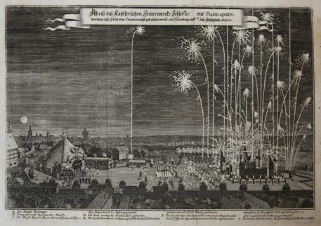 [Original print, etching, Neurenberg] Fireworks celebrating the end of the Thirty Years War in Nuremberg in 1650, published 1650.
