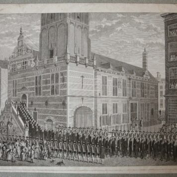[Original print, etching] View on the old town hall (stadhuis) of Rotterdam, published in 1787.