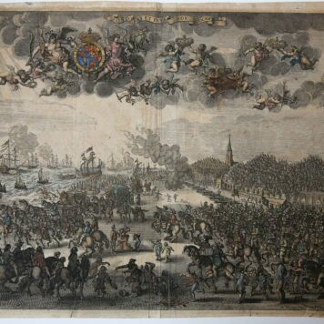 [Original print, handcolored etching, The Hague, Scheveningen] The departure of Charles II from Scheveningen to England, published 1660.