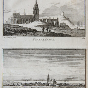 [Antique print; etching] Schevelinge (Scheveningen, The Hague, Den Haag), published 1723-1733.