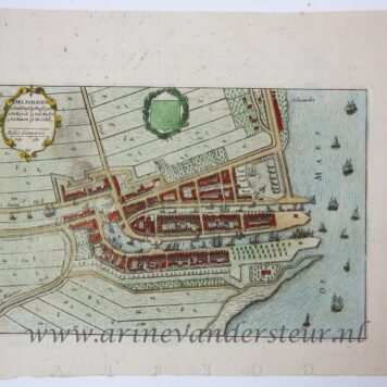 [Cartography, Antique print, handcolored etching] Map of Delftshaven, published 1652.