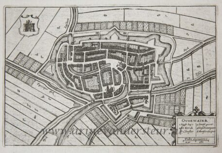 [Antique print, etching] Map of Oudewater, published 1652.