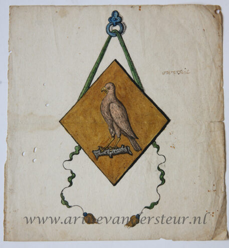 [Antique drawing, oude tekening] A family crest (?), 18th century.