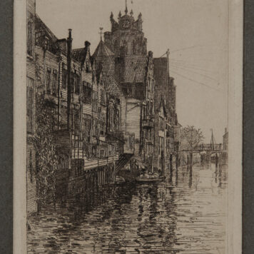 [Modern print, etching] View on a canal in Dordrecht, ca. 1850-1900.