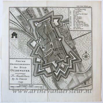 [Cartography, antique print, etching] Map of Oudewater (Oude kaart van Oudewater), published 1749.