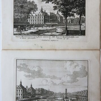 [Two antique prints, etchings] Het Huys te Hondsholredyk (Huis Honselaarsdijk te Honselersdijk), from Admirandorum quadruplex Spectaculum, published ca. 1694-97.