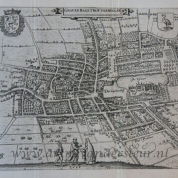 [Cartography, antique print, etching] GRAVEN HAGE, 'T HOF VAN HOLLAT (Hof van Holland, The Hague/Den Haag), published 1612 or 1648.