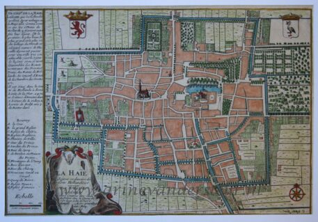 [Cartography, antique print, handcolored etching] LA HAIE (The Hague/Den Haag), published 1705.