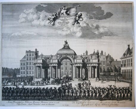[Antique print, etching] Entrance of William III in The Hague, published 1691.
