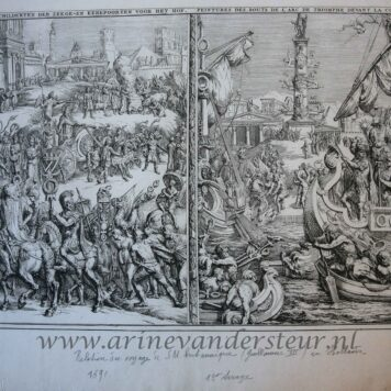 [Antique print, etching] Panels decorating a triumphal arch for the entrance of William III in The Hague, published 1691.