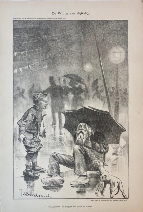 [Original lithograph/lithografie by Johan Braakensiek] De Winter van 1896/1897, 17 Januari 1897, 1 pp.
