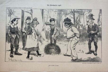 [Original lithograph/lithografie by Johan Braakensiek] De Grieksche egel, 4 April 1897, 1 pp.