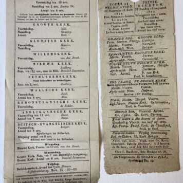 [History The Hague] Two original sermon schedule, predikbeurten (Preekbeurten, Rooster voor preken) 1812 & 1853.