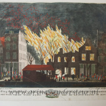 [Antique print, handcolored etching] The fire at the brewery De Twee Leeuwen in Rotterdam in 1782, published ca. 1782-1784.