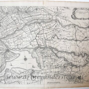 [Cartography, Antique print, etching] Map of South Holland (Zuid Holland), published after 1674.