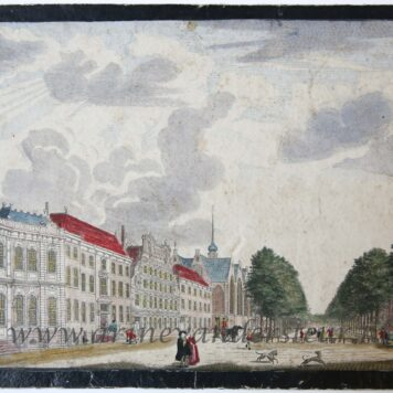[Antique optical print, handcolored etching] GEZIGT AAN DE OUDE WETERING (Amsterdam), published ca. 1830.