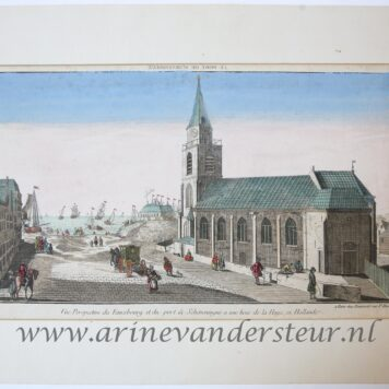 [Handcolored Opticaprent/Optical view The Hague/Den Haag] LE PORT DE SCHEVENINGUE (Haven van Scheveningen, Oude Kerk Keizerstraat 8 Scheveningen), published ca. 1770.