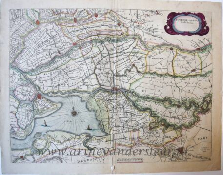 [Cartography, antique print, engraving] Map of South Holland (Zuid Holland), published 1649.