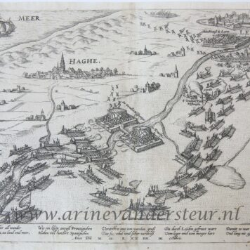 [Original print, engraving] A view on Delft, The Hague (Den Haag) and Leiden, (plate 24), published 1574.