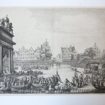 [Antique print, etching] Arrival of Maria de 'Medici at the floating theater on the Rokin in Amsterdam, published 1638/39.